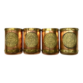 Vintage Copper & Brass Mugs Mexico - Set of 4 For Sale
