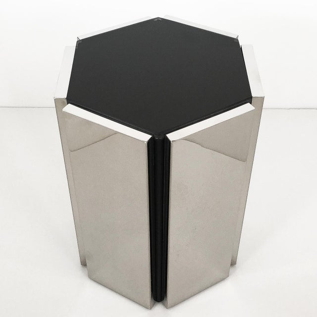 Silver Chrome and Smoke Glass Hexagon Side Table For Sale - Image 8 of 11