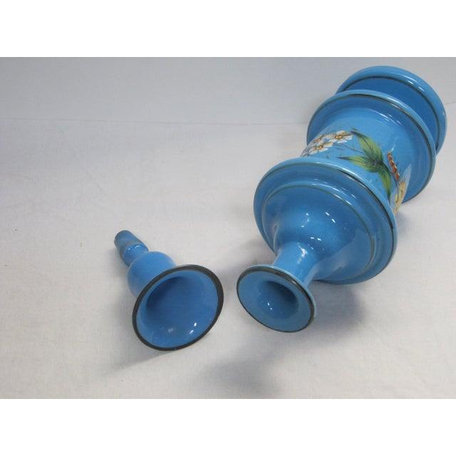Antique French Hand Painted Blue Opaline Decanter For Sale - Image 9 of 10
