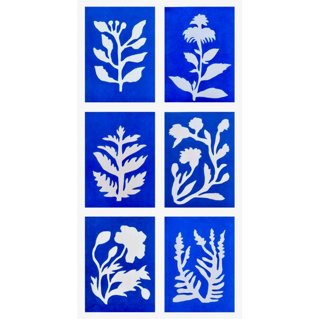 Royal Blue Sunprints Signed and Embossed Giclees by Neicy Frey - Set of 6 For Sale - Image 8 of 10