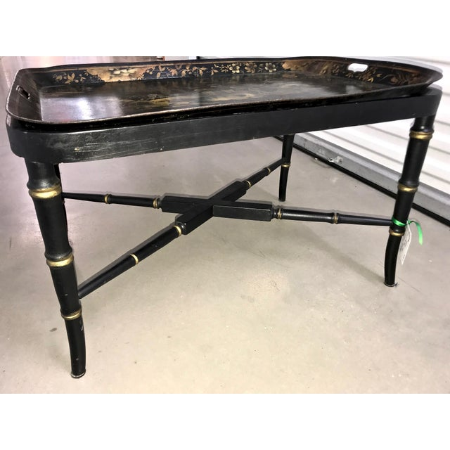 Beautiful 19th Century Chinoiserie Tray Table in a painting black and gold finish