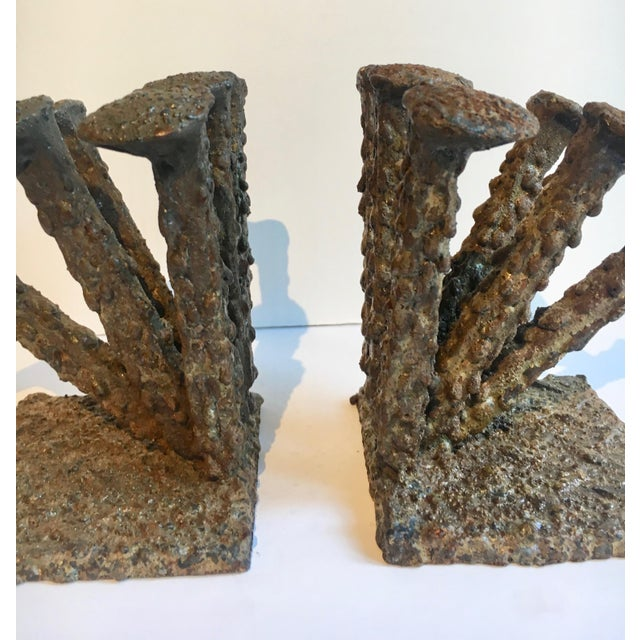 Gold Brutalist Folkart Bronze Bookends - a Pair For Sale - Image 8 of 9