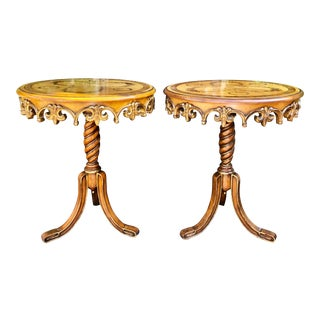 Pair of Signed Maitland Smith Carved Italian Marquetry Inlaid Tripod End Tables For Sale