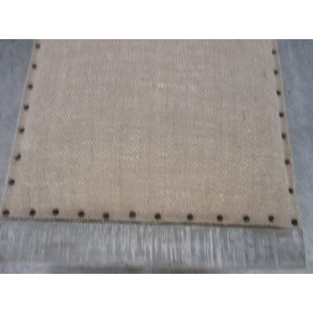 Mid-Century Modern Style Linen Upholstered Bench For Sale - Image 4 of 5