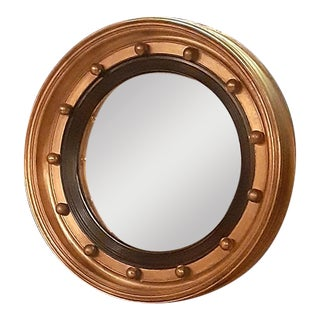 Vintage Solid Gilt Wood Frame Convex Mirror For Sale