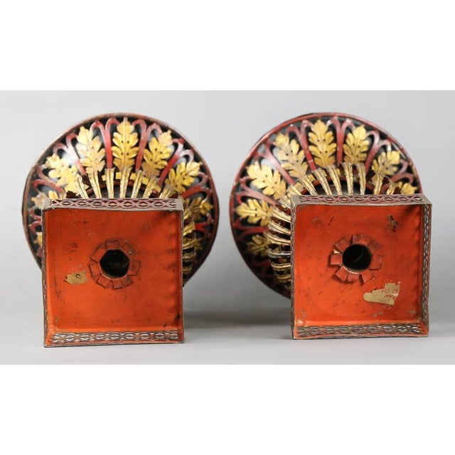 Early 19th Century Pair of Regency Tole Urns For Sale - Image 5 of 11