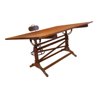 1930's Industrial Wood & Iron Drafting Table