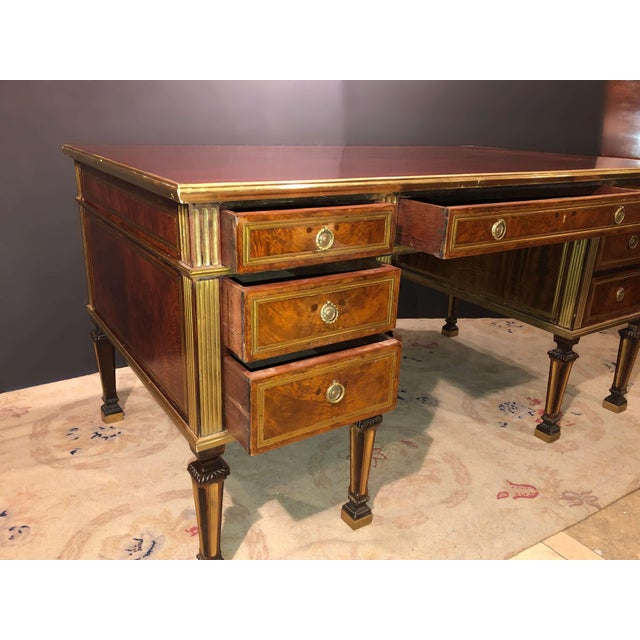 Metal Russian Neoclassic Mahogany Desk For Sale - Image 7 of 10