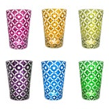 Image of Polka Dots Tumblers, Assorted Colors, Set of 6 (Purple, Fuschia, Azure, Emerald, Olive, Amber) For Sale