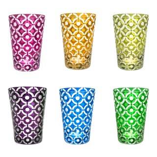 Polka Dots Tumblers, Assorted Colors, Set of 6 (Purple, Fuschia, Azure, Emerald, Olive, Amber) For Sale