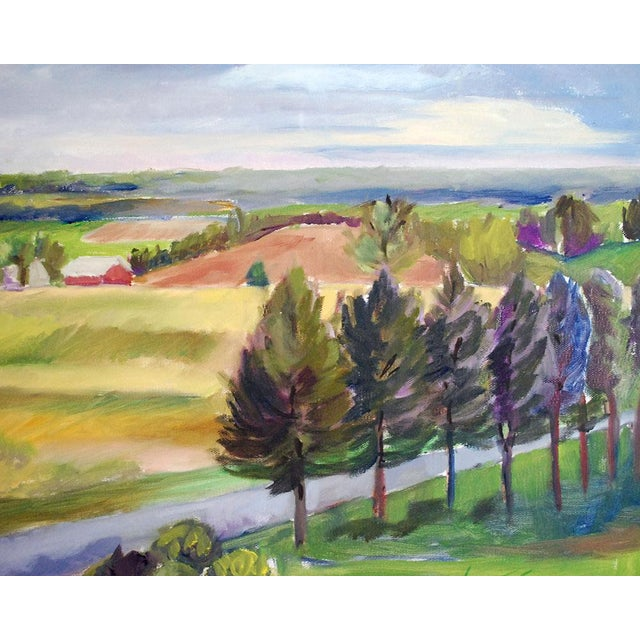 Original oil painting of a Missouri landscape, featuring the view at Balducci Vineyards in Augusta. It was painted by...