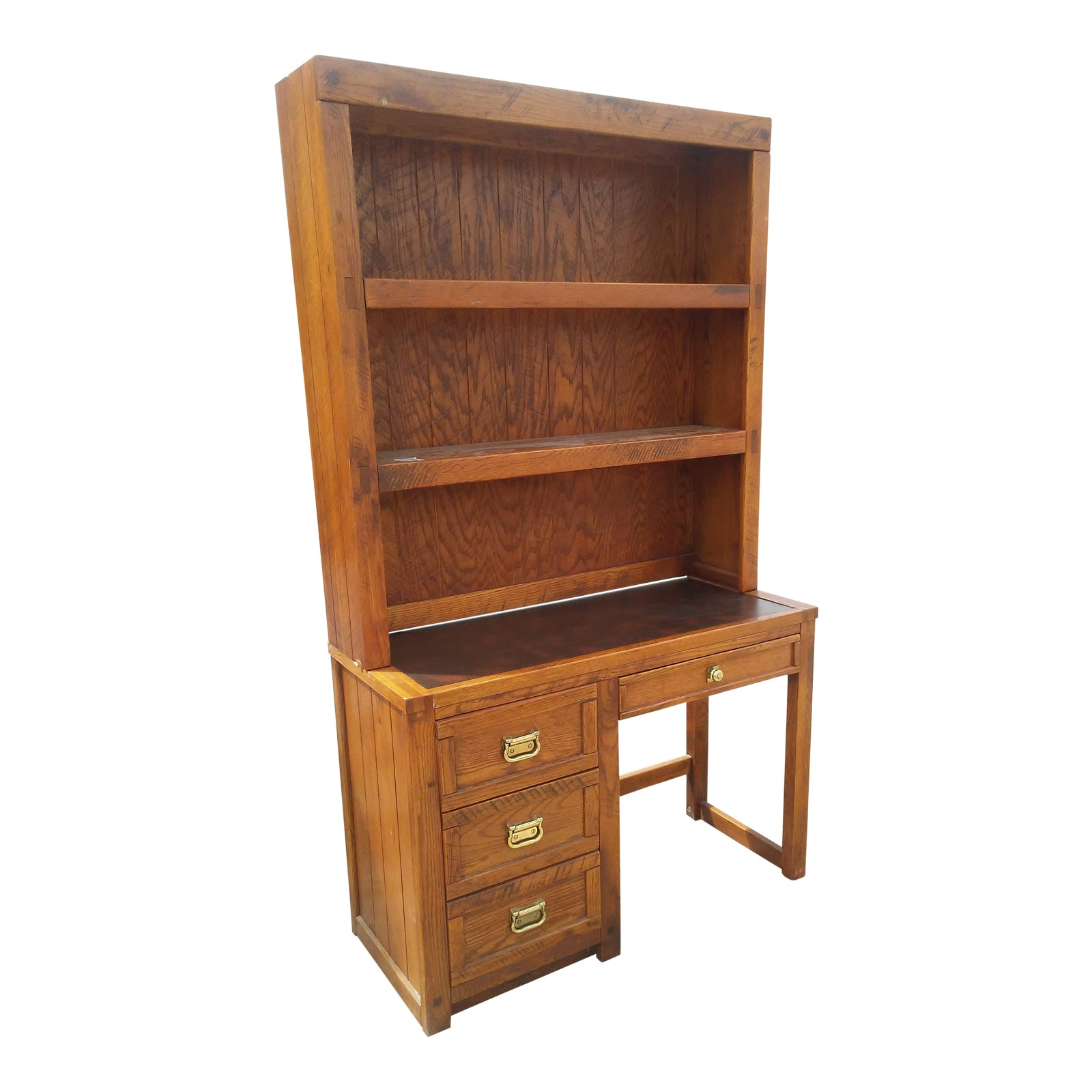 Vintage Young and Hinkle Outrigger Desk With Bookshelf Hutch