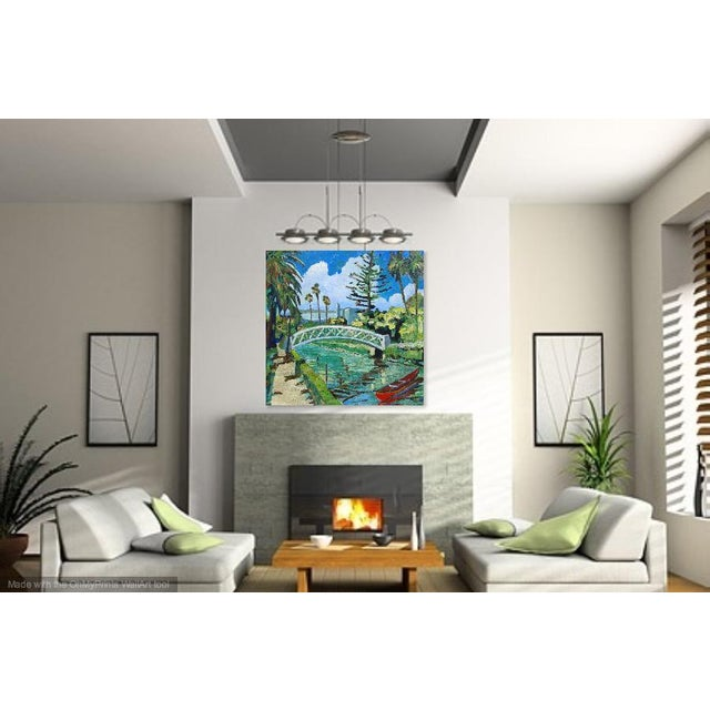 "2010s Monumental ""Venice Canal, California"" Oil Painting For Sale - Image 5 of 10"