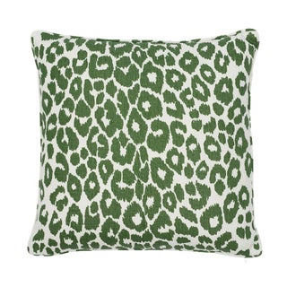 Contemporary Schumacher Iconic Leopard Pillow in Green For Sale