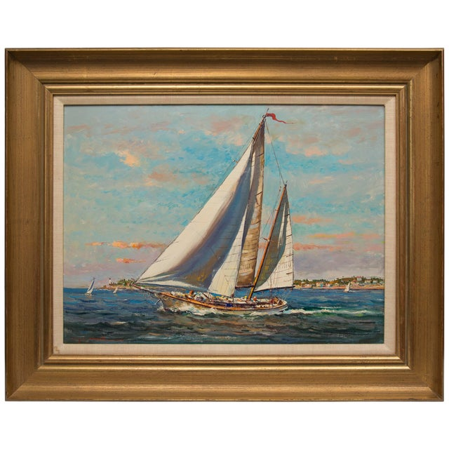 American Marine Oil Painting on Board by Wayne Morrell For Sale