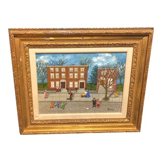 """1970s Folk Art Painting on Canvas, """"See the Birdie,"""" by Mollie Simon"""