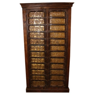 Rustic Antique Cabinet Galloping Horses Teak Wood Armoire For Sale