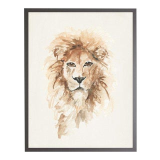 "Framed Watercolor Lion Print - 23"" X 29"""
