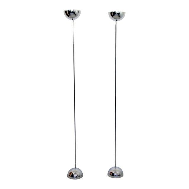 Mid Century Modern Sonneman Pair of Chrome Uplight Floor Lamps 1970s For Sale