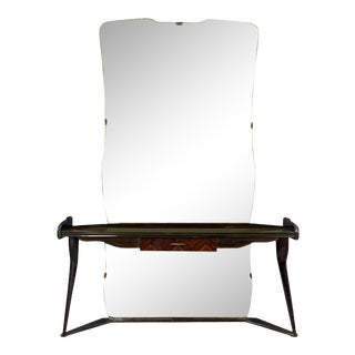 Italian Mid-Century Vanity Console Table Cesare Lacca Style WithMirror For Sale