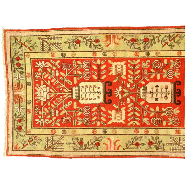 Art Deco Early 20th Century Antique Khotan Wool Rug - 5′6″ × 8′10″ For Sale - Image 3 of 5