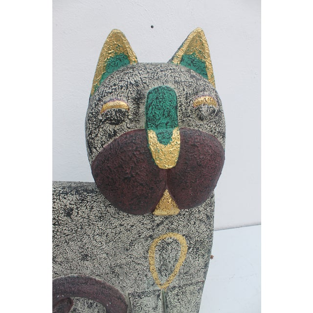 Vintage Hand Carved Wood Cat Statue For Sale In Miami - Image 6 of 10