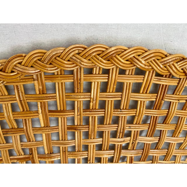 Wood Vintage Woven Braided Rattan Headboards- a Pair For Sale - Image 7 of 13