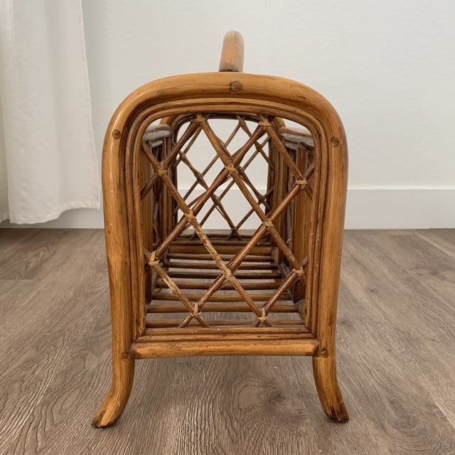 1970s Vintage Pencil Reed and Rattan Bamboo Magazine Book Holder For Sale - Image 5 of 7