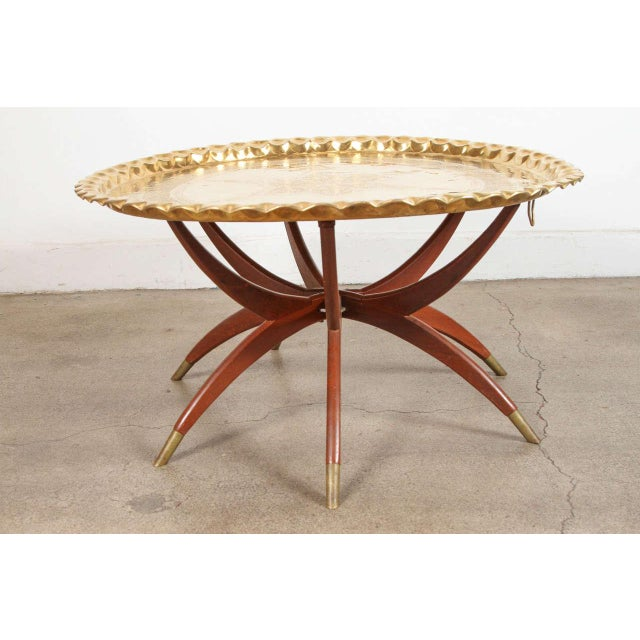 Gold Moroccan Brass Tray Table on Spider Folding Stand For Sale - Image 8 of 8