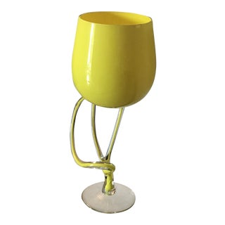 1900s Bohemian Yellow Glass Display Cup