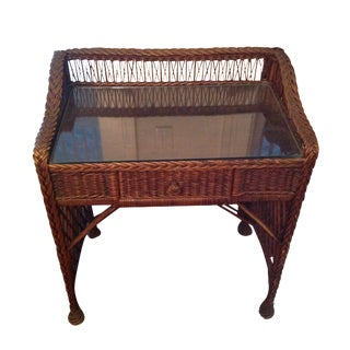 Vintage Woven Wicker Desk or Vanity For Sale