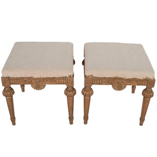 Pair of Natural Wood Gustavian Stools, Stripped to Their Natural Wood Color For Sale