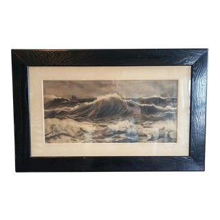1930s Vintage Original Charcoal Seascape Drawing For Sale