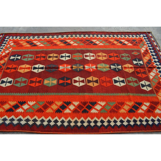 This beautiful Persian Kilim will add a stunning design accent to your home. This is made by 100% wool and tightly hand...