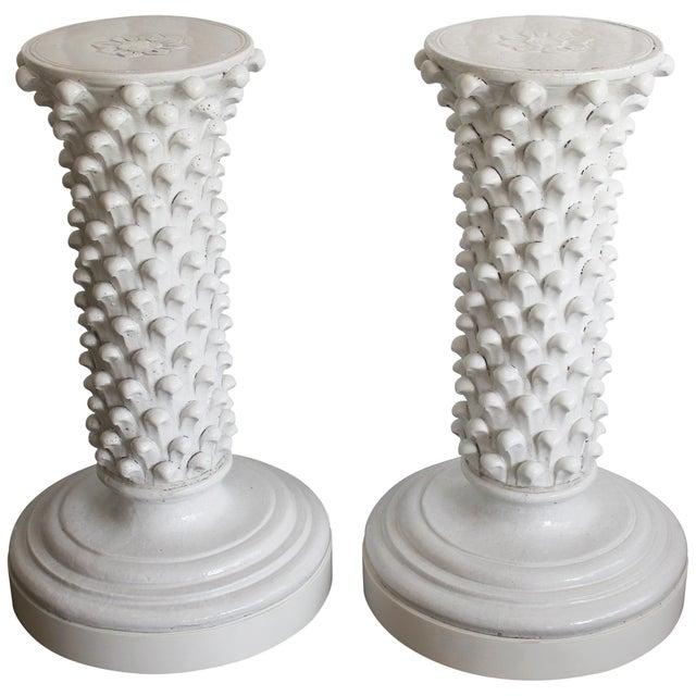 Ceramic Pair of Italian Ceramic Pedestals Attributed to Fantoni For Sale - Image 7 of 7