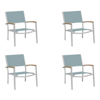 Outdoor Sling Lounge Chair, Natural and Slate (Set of 4) For Sale