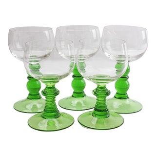 German Green Stem Goblets - Set of 5 For Sale