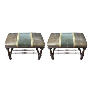 Pair of Neoclassical Style Benches in Leather and Velvet