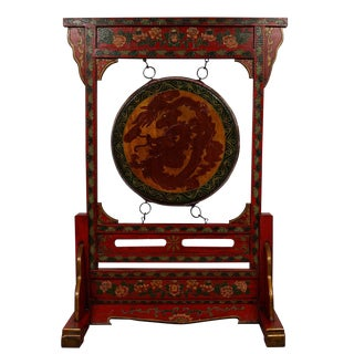 Antique Tibetan Dragon and Phoenix Drum With Stand For Sale