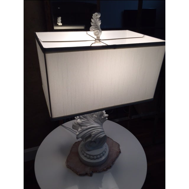 White Lacquer Brocade Table Lamp - Image 3 of 4