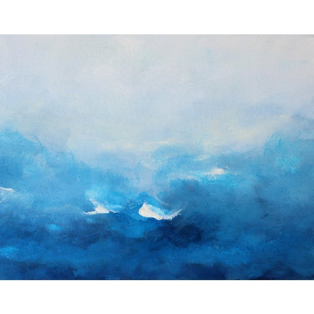 SWEPT AWAY is a modern beachscape/landscape of blues and whites. Abstract expressionist style. Oil on canvas board. This...