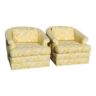 Pair of Vintage Hollywood Regency Yellow & White Floral Club Chairs