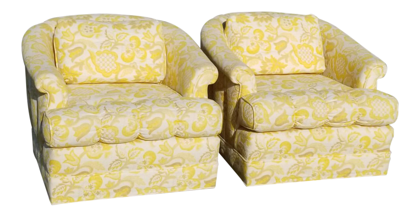 Beautiful Pair Of Vintage Hollywood Regency Yellow U0026 White Floral Club Chairs For Sale