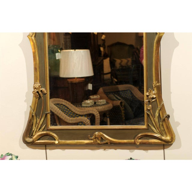 Art Nouveau Style Gold & Taupe Mirror For Sale - Image 9 of 11