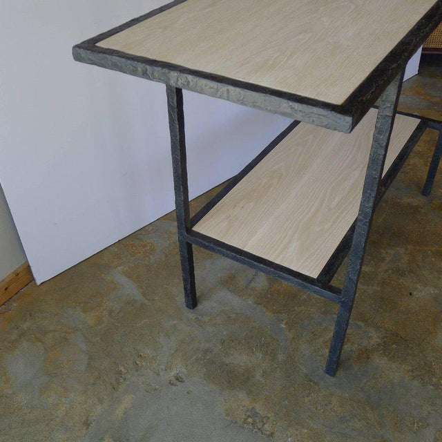 Metal 20th Century Contemporary Bleached Oak Wood Console For Sale - Image 7 of 8