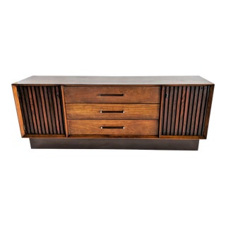 1970s Mid Century Modern Lane Furniture Rosewood and Walnut Credenza