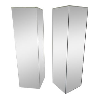 1970s Mirrored Lighted Pedestals