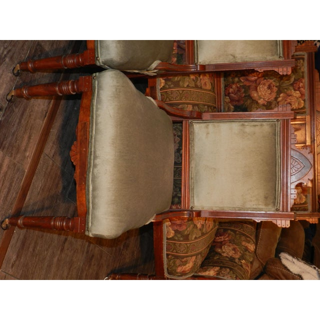 Celadon Eastlake Parlor Sofa & Chairs Set For Sale - Image 8 of 13