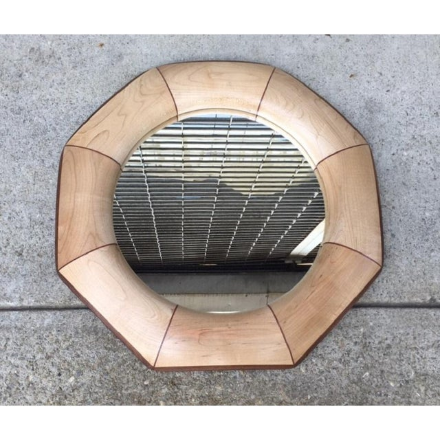 Mid-Century Modern Custom Octagonal Mirror With Maple and Rosewood Inlay For Sale - Image 3 of 6