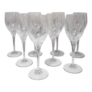 Vintage Mikasa 'Petit Points' Cut/Etched Crystal Water/Wine Goblets - Set of 8 For Sale
